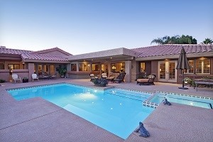 Rear view of luxury villa with swimming pool